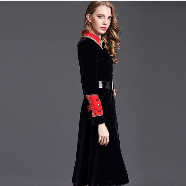 Autumn Winter Women Velvet Clothing Long Sleeves Outerwear England Style Coats Fashion Ladies Trench Coats Red and Black Free Shipping