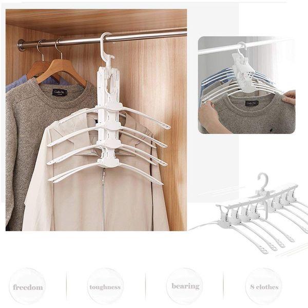 Clothes Hanger Organizer Rack Portable Foldable Multifunction Space Saving Closet Organizer Hanger for T-shirt Sweater Jacket Dress White