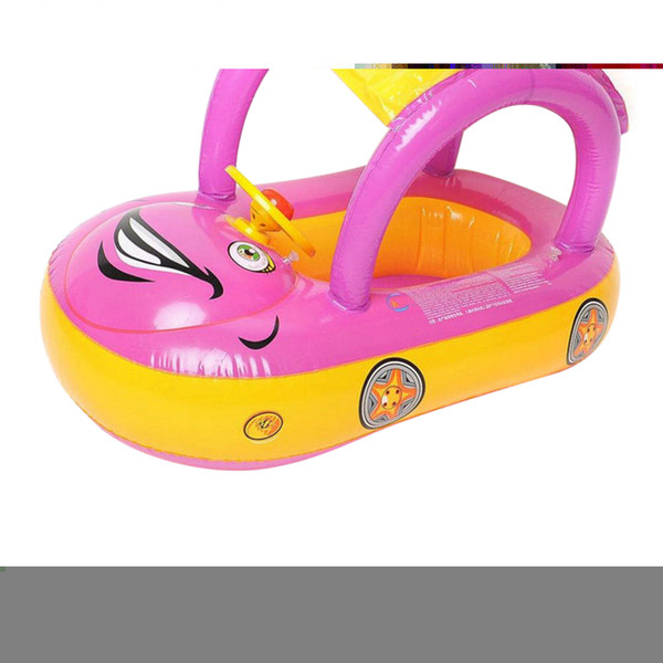 Cute Baby Float Seat Boat with Inflatable Ring Cartoon Car Swim Boat Pool Ring Seat With Sunshade & Canopy For Kids Baby Infant