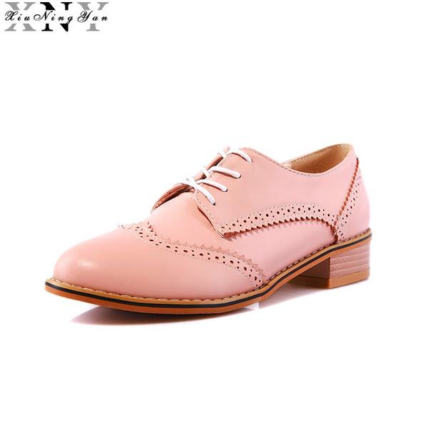 XIUNINGYAN Women Oxfords Flats Shoes Lace Up Round Toe Fashion Causal Brogue Shoes Women Large Size 32-43 Women's Flat