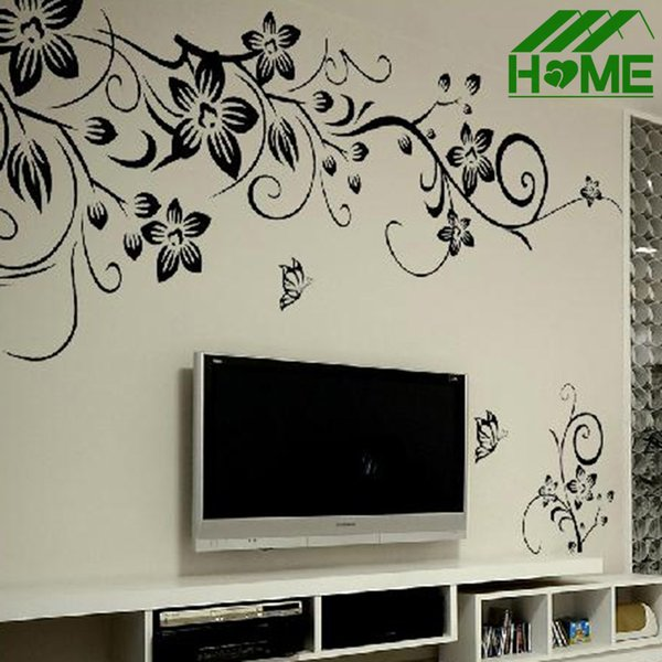 """31.4"""" x 51.1""""Flower rattan Butterfly DIY Removable Art Vinyl Quote Wall Stickers Home Decoration Sticker Decals"""