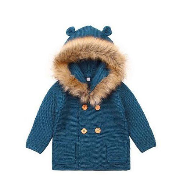 Newborn Baby Winter Warm Sweater Fur Hood Detachable Infant Boys Girl Knitted Cardigan Fall Outwear 6M-24M
