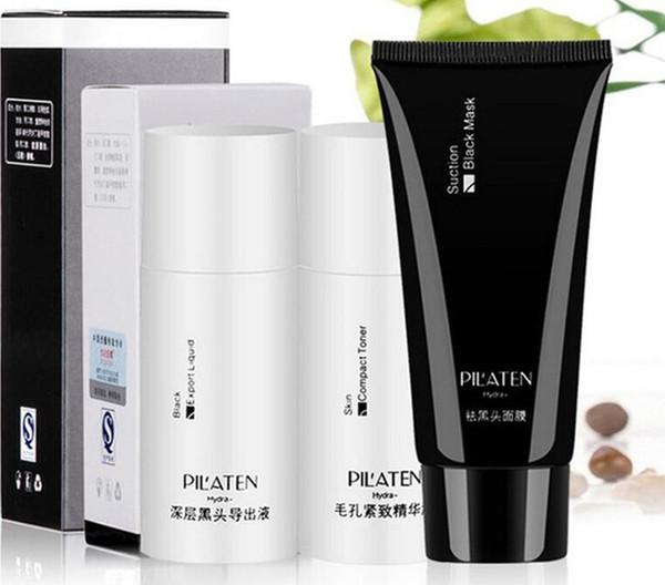 PILATEN Blackhead Remover Mask+Black Head Export Liquid+Skin Compact Toner Pilaten Pore Cleaner 3pcs/Set