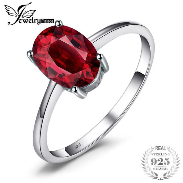 JewelryPalace 1.6ct Pure Red Granate Solitaire anillo para las mujeres Oval Cut Solid 925 plata esterlina accesorios de moda en venta Y1892606