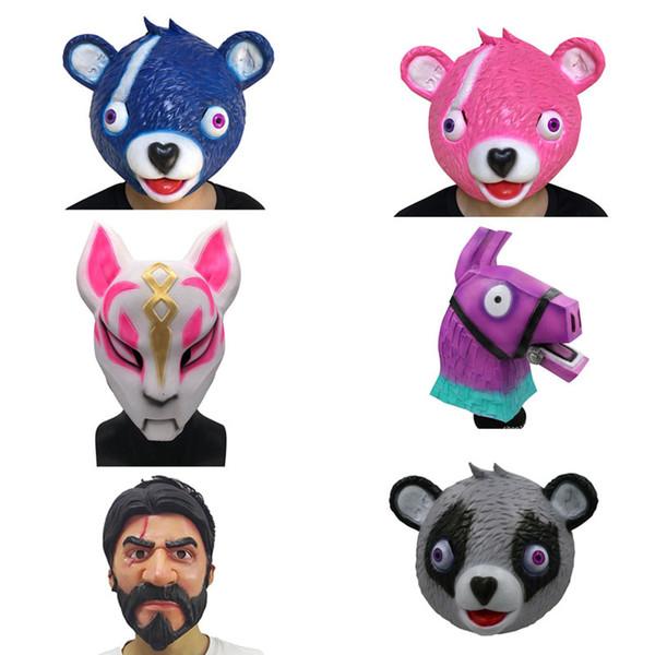 2018 New Fortnite Fox Horse Drift Mask Latex Halloween Costume For Kids Girls Game Party Dance Halloween Costumes Masks Masquerade Halloween