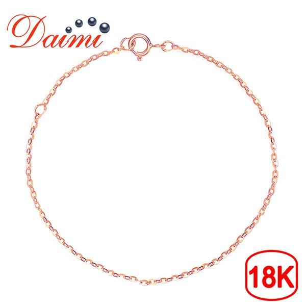 DAIMI Cadena de oro 18K AU750 Pulsera de oro puro Cadena 18K rosa ajustable 16cm-18cm Pulsera Regalo de la joyería