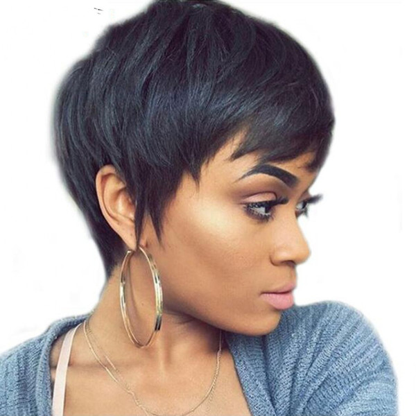 """Hotselling Short Human Hair Wigs For Women Natural Wave Wigs 4"""" Natural Black 100% virgin Human Hair full lace front wig"""