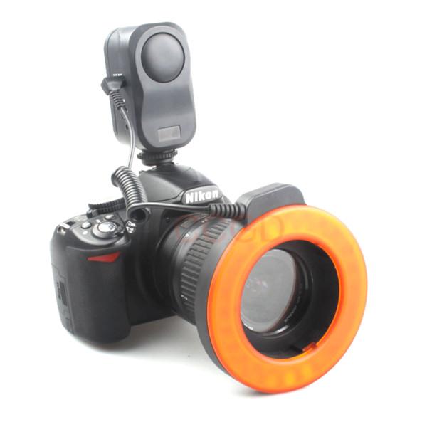 Vendita all'ingrosso W48 Macro LED Anello Flash Light 3200K / 5600K per Nikon Pentax Olympus DSLR Cameras + 6pcs Adattatore anelli
