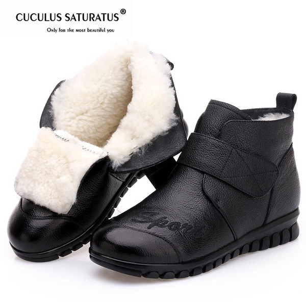 cuculus 2018 women snow boots 100% genuine leather natural wool fur winter warm ankle boots women flat shoes botas mujer 1949, Black