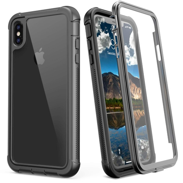 Heavy Duty Protection With Screen Protector Phone Case for iPhone X XS MAX XR 9 10 Shockproof Clear Transparent Full Body Cover