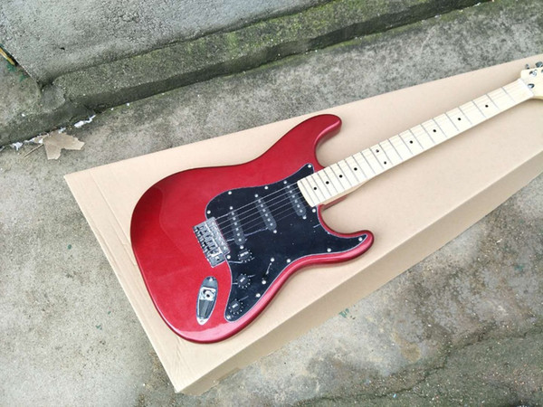 Factory Customized Red Electric Guitar with SSS Pickups,Black Pickguard,Rosewood Fretboard,offer Customized