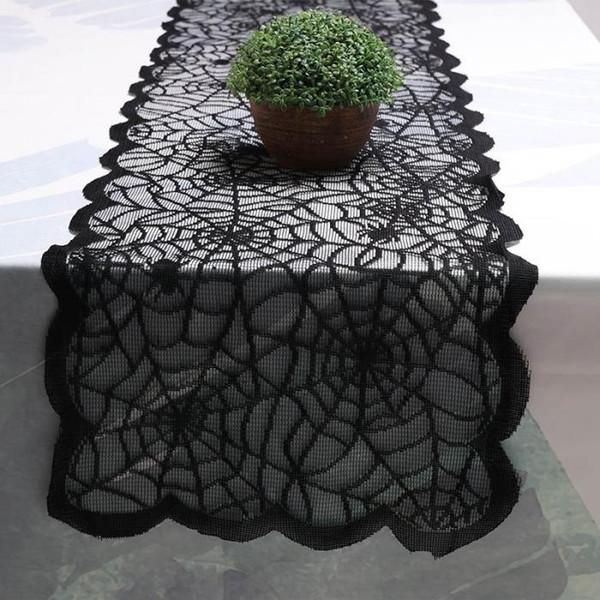 Mantel de encaje de poliéster, Black Spider Web - Perfecto para Halloween, cenas y noches de película de miedo para la decoración del hogar envío gratis