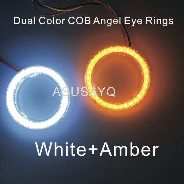 2PCS Dual Color Auto Headlight Halo Rings Light Guide Angel Eye Car Styling COB SMD Angel Eyes With Cover Turn LightWhite Amber