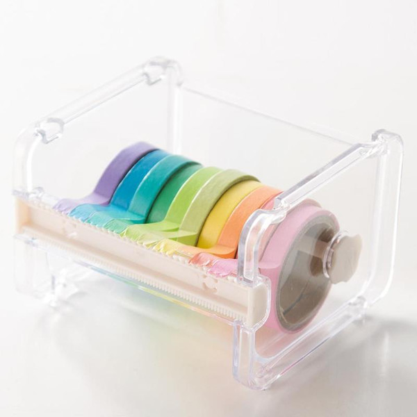 Cancelleria giapponese Creativo Trasparente Nastro adesivo Nastro mascherante Cutter Washi Storage Organizer Forniture per ufficio scuola