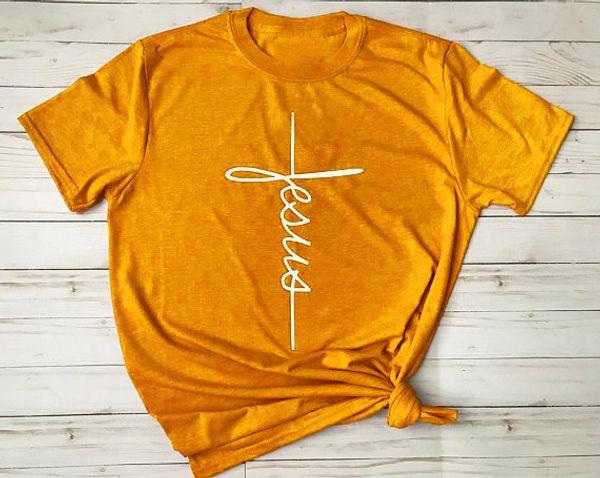 İsa çapraz T-Shirt Hıristiyan dini tshirt Kadınlar Komik Grafik t shirt tees Bayanlar Unisex tops gemi gemi moda giysileri