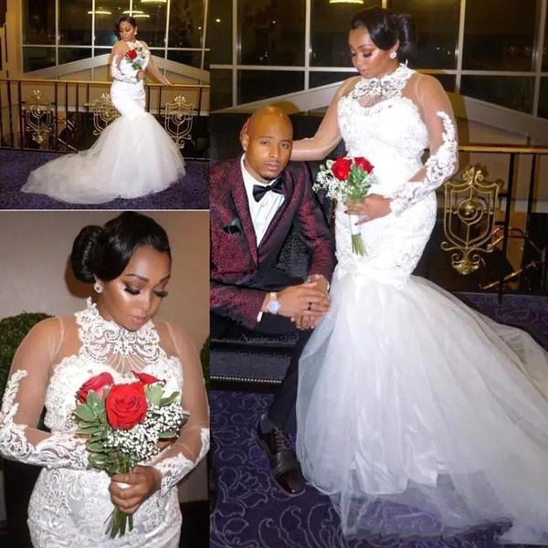 2018 Plus Size africano collo alto sirena abiti da sposa in pizzo appliques perline sheer maniche lunghe tulle abiti da sposa abiti da noiva