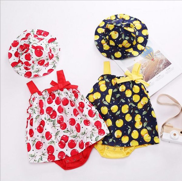 summer sets 2018 NEW arrival INS summer Girls Kids cherry printing bowknot romper + cute hat high quality cotton 2 sets free shipping