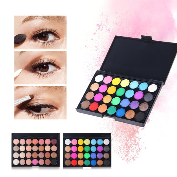 top popular 28 color bead matte blend eyeshadow durable waterproof and non-smudge with eye shadow brush combination make-up suit. 2019
