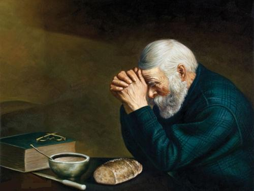 Multi Custom Sizes /Frame NEW Daily Bread Man Praying at Dinner,Handpainted /HD Print Grace Religious Art Oil Painting On Canvas P156