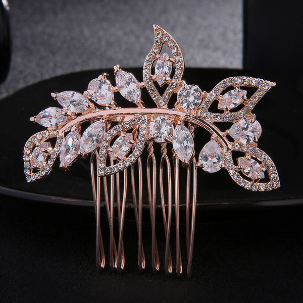 Newest Fashion Rose Gold Wedding Accessories For Bride Crystals Hair Comb Hairpieces Hair Jewelry For Women Tiara Clips JCH099