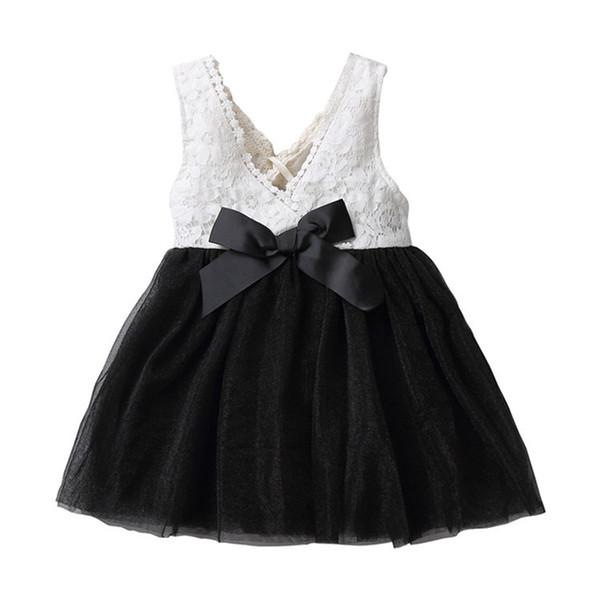 Free shipping 2018 Girls Dress Christmas Kids Clothing Summer sleeveless Lace Tutu Dress Korean Fashion bow dress wholesales