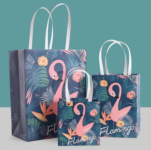 Flamingo Party Treat Bags Loot Bag Gift Bag Favour Bags with Handle Fashion Jewellery Bags Wedding Birthday Party Favor OOA4358