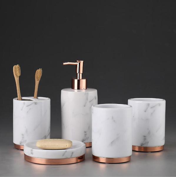 5 Pcs/Set Bathroom Set Ceramic Bath Accessories Toothbrush Cup Soap Dish Shampoo Dispenser lotion Bottle For Wedding Hotel Home use