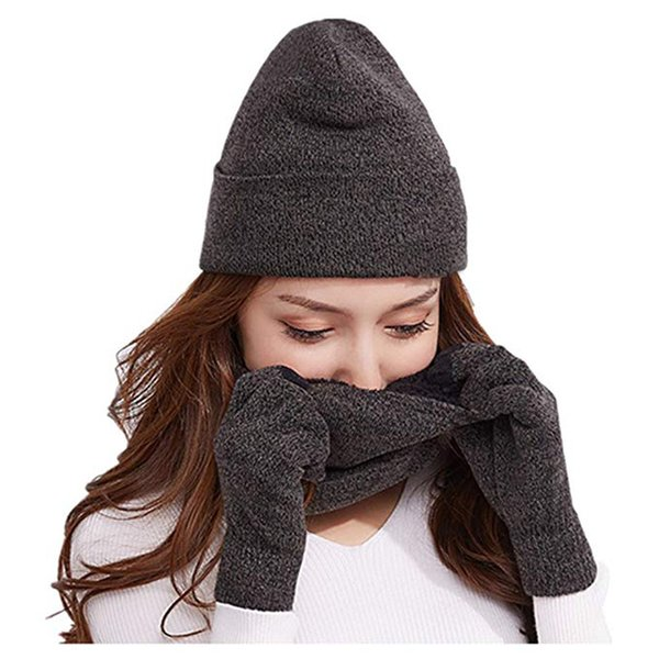 2018 Women Hat Scarf and Gloves Set Winter Warm Hat Thick Infinity Scarf Smart Touch Screen Gloves Skullies Beanies Female Male