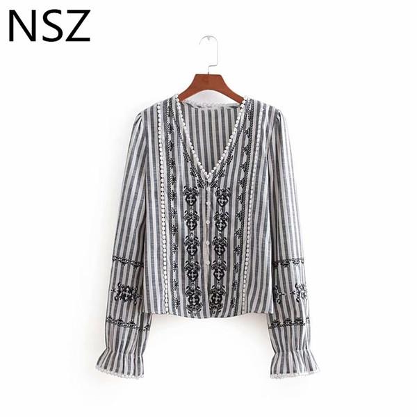 NSZ женщины хлопок рубашка полосатая блузка вышивка топ с длинным рукавом осень дамы топ