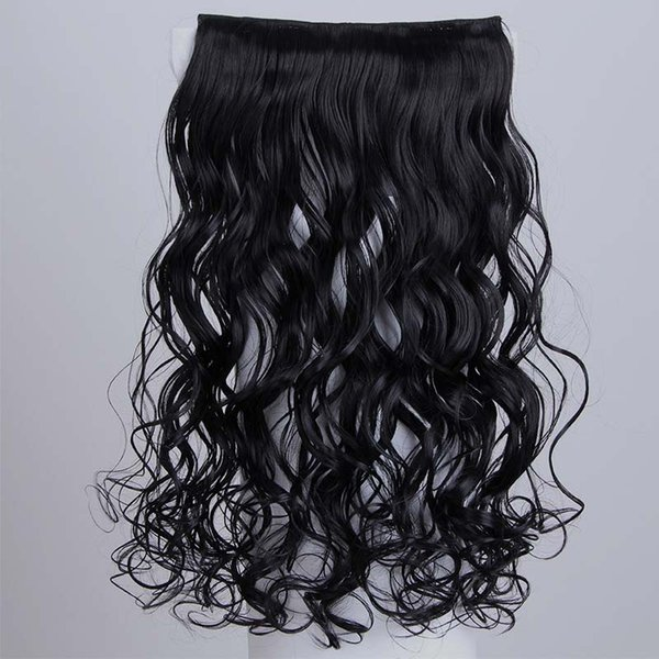 Body Wave Clip In Hair Extensions Synthetic High Temperature Silk Long Wavy Hairpieces with 5 clips 100g