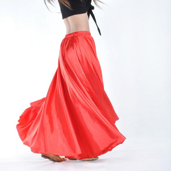 Spedizione Gratuita 14 Colori Brillante Satin Gonna Lunga Spagnolo Donne Oriental Professionale Danza Del Ventre Vestiti Flamenco Indiano Gypsy Pratica Gonne