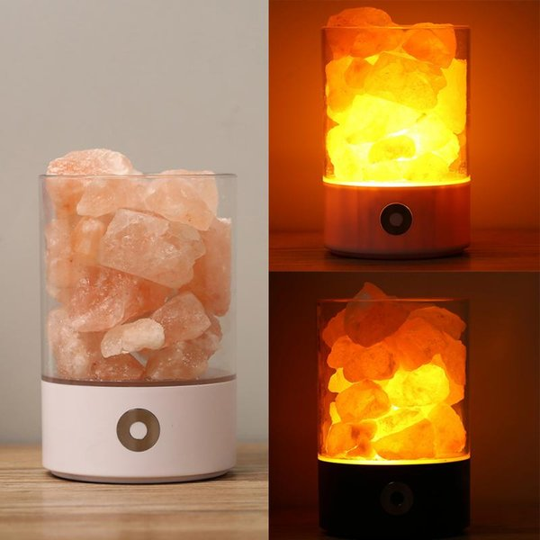 Supply Salt Lamp USB Power Natural Himalayan 7Color changing Portable Design Touch Brightness Bedroom Night Light M2 Round Black White Hot