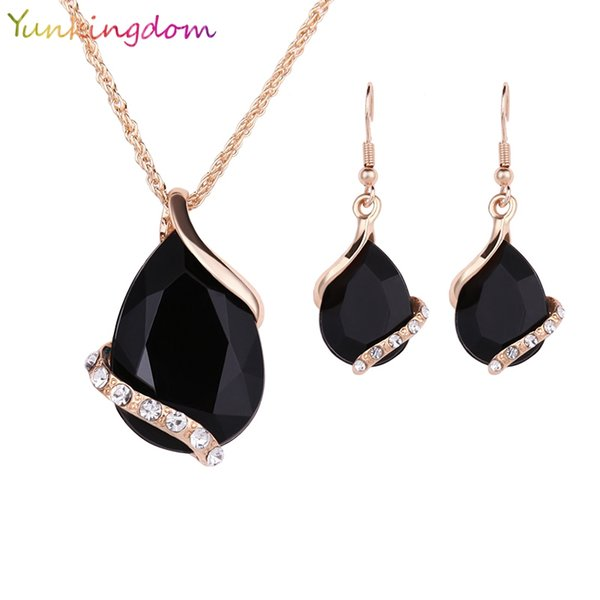 whole saleYunkingdom Black Crystal Earrings Necklaces Sets Gold Color Jewelry Sets for Women Geometric Design Wedding Jewelry