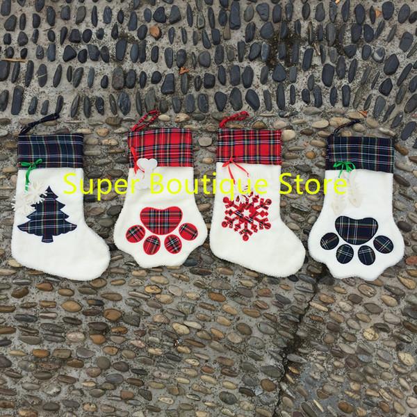 Envío gratis listo en Stock De calidad superior al por mayor de Navidad para mascotas Paw Stocking Tree ornamentos regalo para niños bolsa
