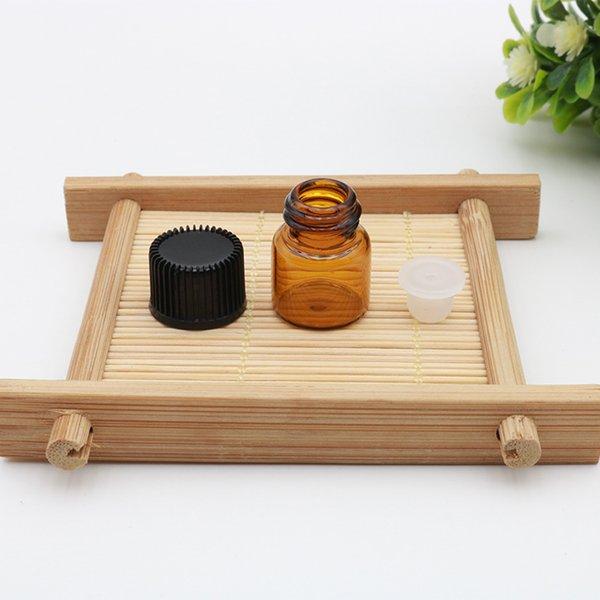 1 ML Mini Amber Uçucu Yağ Cam Boş Şişe Vida Siyah Kap 1CC Kahverengi Örnek Flakon Küçük Parfüm Şişesi Seyahat Boyutu