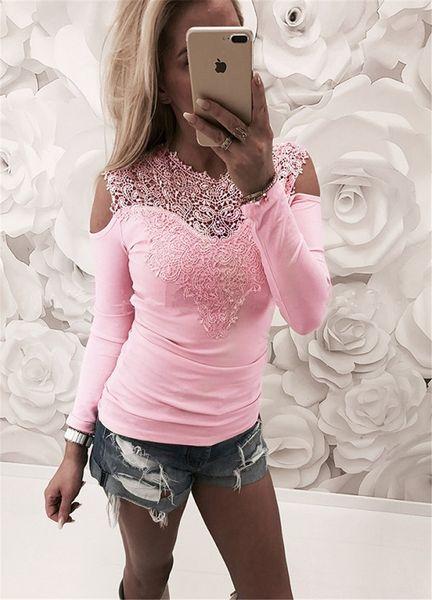 Женская Повседневный длинными рукавами Лоскутная Кружева Щитовые Топы Блузка Футболка Ladies Solid Color Jumper рубашки Tee