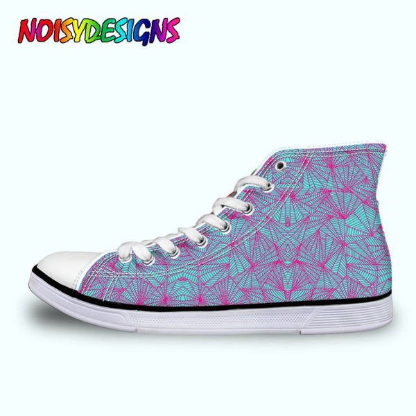 WoWomen High Top Canvas Shoes Summer African Style Patterm Lacing Flat Shoe Spring Summer Vulcanize Shoes Sneakers Female