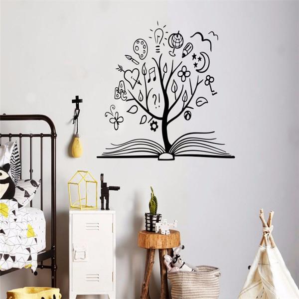 Book Tree Wall Decal Vinyl Sticker Library School Classroom Study Room Decoration Interior Design