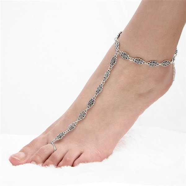Fashion beach folk style retro pattern carved metal hollow Fingerless Anklets wholesale Mujer Bijoux Travel Gifts