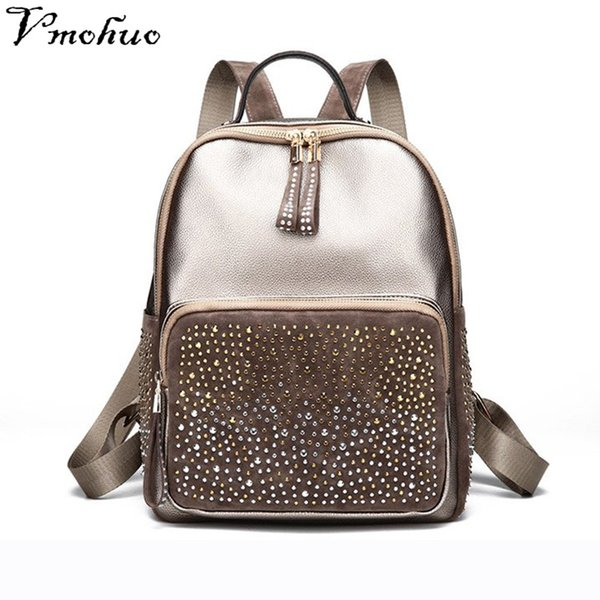 VMOHUO Korean Style Women Backpack Rhinestone PU Leather Female Backpacks High Capacity Travel Back Pack Bags For Young Girls