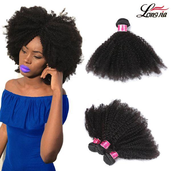nuovo stile Vergine brasiliana Afro ricci capelli trama estensioni dei capelli umani 100% non trasformati colore nero naturale ricci crespo afro Spedizione gratuita