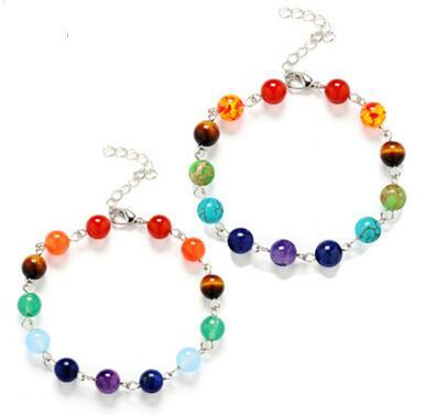 Yoga 7 Chakra Healing Balance Armband Naturstein Armbänder Armreif Manschette Power Inspirational Schmuck für Frauen Kinder 2 Farben