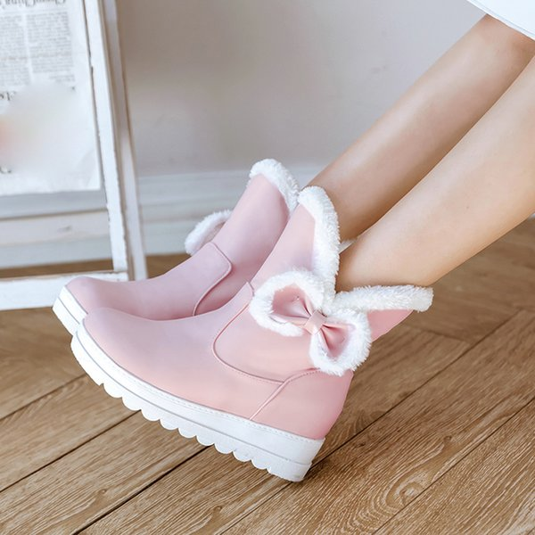 Womens New Multi Colors Winter Bow Flat Keep Warm Shoe High Quality Vintage Designer Preppy Style Non-Slip Short Tube Snow Boots
