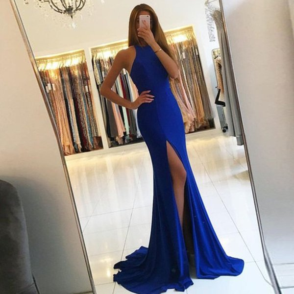 LND3301 Sexy Halter Royal Blue Mermaid Evening Dresses Cut Out Back High Split Formal Party Dresses Evening Gown