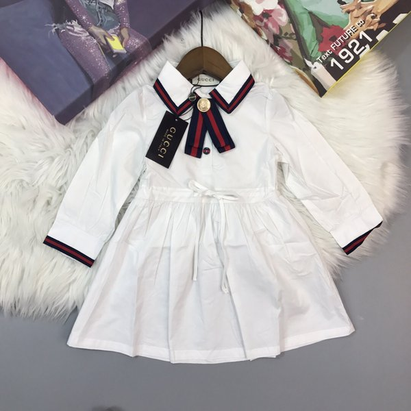 Children's wear lapel dress college wind imported shirt fabric white blue bar size: 90-100-110-120-130-140CM