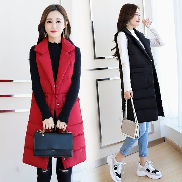 Office Lady Long Vest Women Solid Zipper Sleeveless Office Jacket Turn-down Collar Covered Button Woman Winter Coats and Jackets