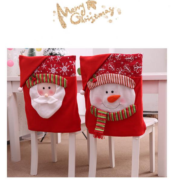 Mais novo Papai Noel Sra Boneco de neve Cap Cadeira Covers Decorações de Mesa de Jantar de Natal para Casa Cadeira Tampa Traseira Decorações JLE169