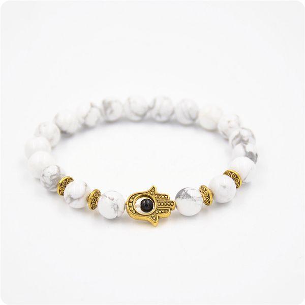 Wholesale Nature 8mm Black Lava Energy Stone Beads Palm Bracelet Gold Hamsa Hand Charm Bracelet Yoga Mala Bracelets