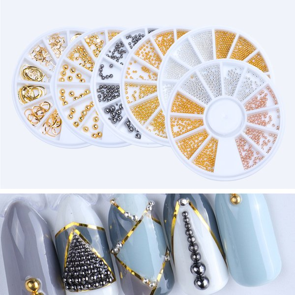 1pcs Stainless Steel Beads Little Round Dot Stone Nail Art Dust Decor Wheels DIY Manicure Accessory for Nail Decorations TR662