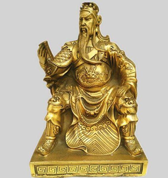 A bronze statue of Guan Gong copper ornaments Buddha Book Guan Yu Guan Er Ye Wu God of wealth